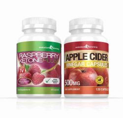Raspberry Ketone and Apple Cider Vinegar Capsules Combo Pack - 1 Month Supply